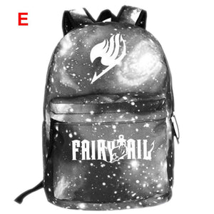 Fairy Tail Backpack Fairy Tail Magic Guild Logo Unisex Canvas Backpack Starry Sky School Backpack - Xcoser Costume