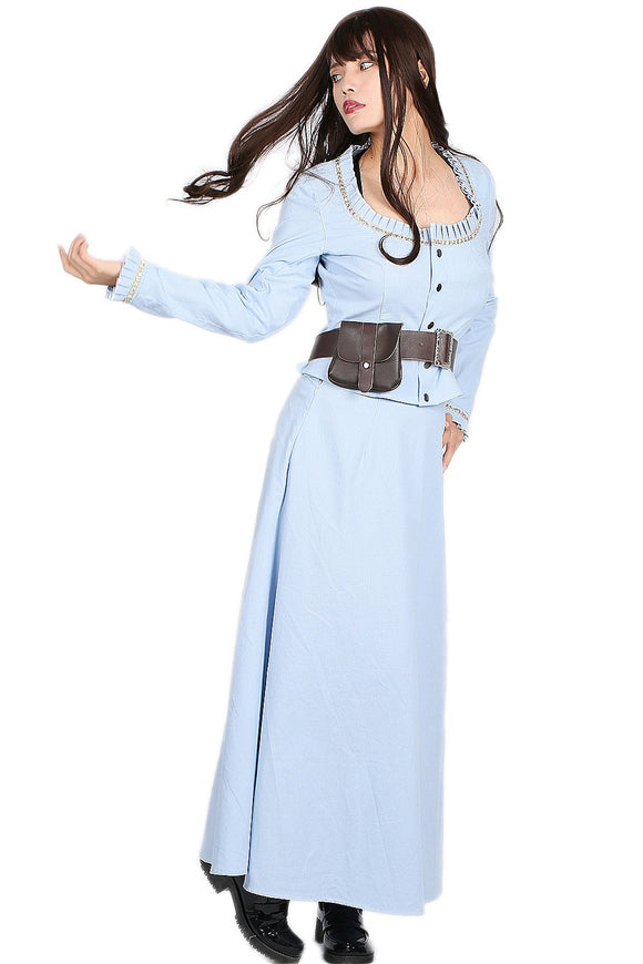 Xcoser Westworld Dolores Costume Light Blue Solid Color Lady Dress Outfits Dolores Cosplay Costume