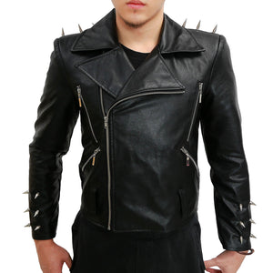 Ghost Rider Jacket Nicolas Cage Cosplay Black PU Leather Men's Biker Costume Jacket Adult (Daily Deals) - Xcoser Costume