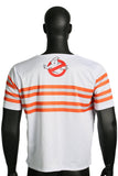 Summer Ghostbusters Striated White Short Sleeve T-shirt Cosplay Costume