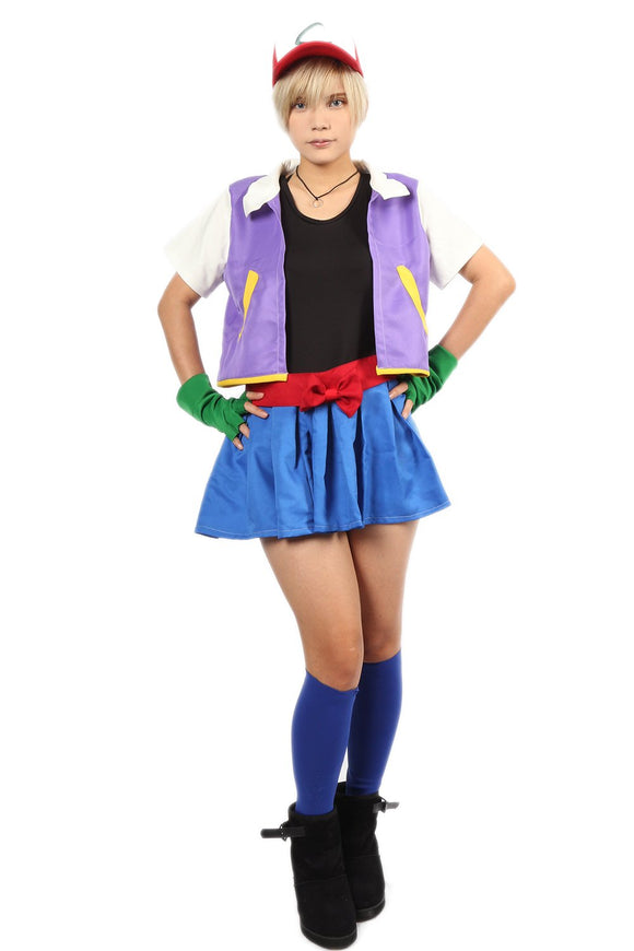 The Hot Lady Ash Ketchum Full Set Outfits Pokemon Cosplay Costume for Women