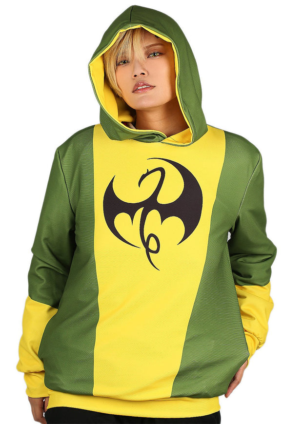 Xcoser Iron First Cosplay Costume Yellow and Green Pullover Hoodie for Teenagers