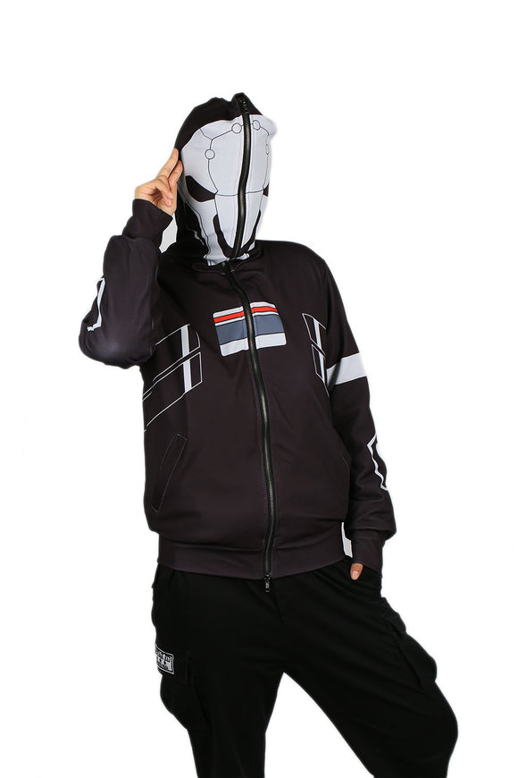 Reaper Hoodie Black Full Zipper Hoodie Overwatch Reaper Cosplay Costume for Adults