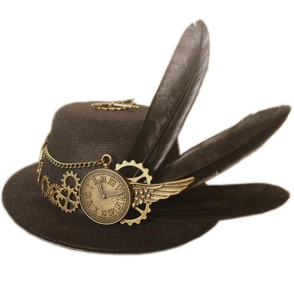 Steam Punk Hat Fashion Top Hat with Feather Party Cosplay Costume Accessories