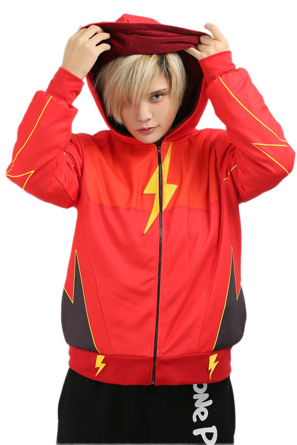 Xcoser The Flash Jay Garrick Cosplay Hoodie Red Cotton Zip Up Hoodie for Teenagers