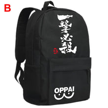 One-Punch Man Backpack One Punch Man Oppai Backpack Black Canvas Teens School Bag - Xcoser Costume