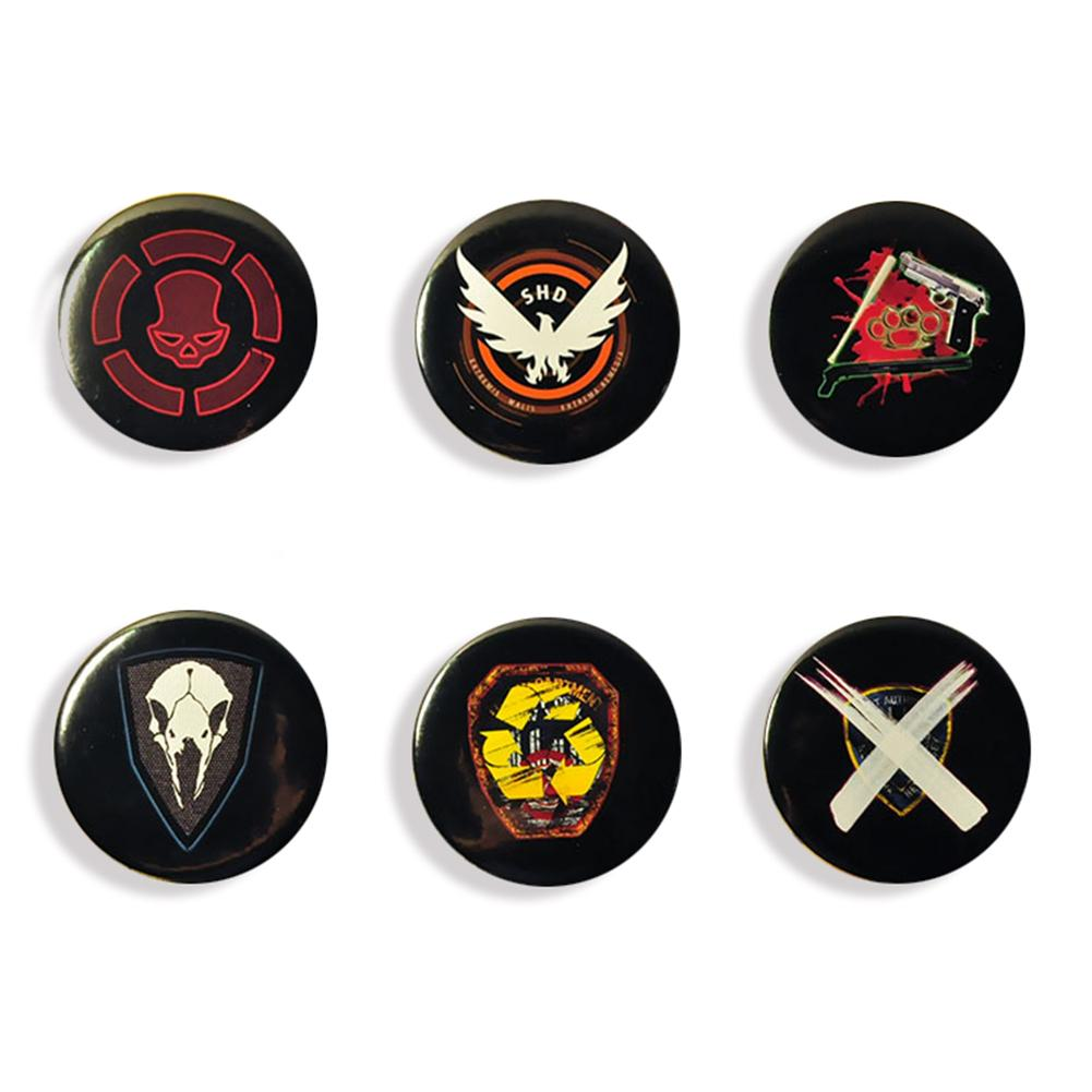 XCOSER Tom Clancy's The Division Camp Logo Badge Brooch 6 pcs Set Collectible Cosplay Props Accessories