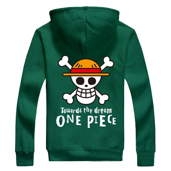 One Piece Hoodie Anime Straw Hat Pirates Flag Logo Cotton Zip Up Hoodie For Men