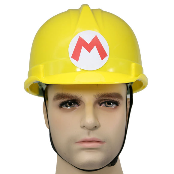 Super Mario Bros Yellow Hard Hat Adults Safety Cap with Strap New Version Cosplay Costume Accessories