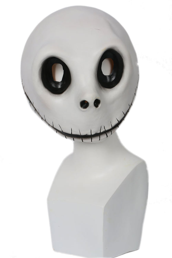 Xcoser Jack Skellington Mask White Latex Mischievous Full Head Mask Jack Cosplay Props
