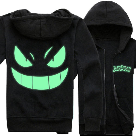 Pokemon Hoodie Cute Pikachu Gengar Costume Spring Autumn Fleece Zipper Glowing Hoodie Coat Black(Daily Deal)