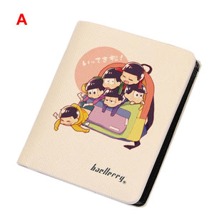Osomatsu Wallet Anime Short Horizontal Bifold Pu Leather Wallet Purse Multipule Pockets - Xcoser Costume