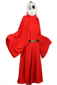 Super Mario Shy Guy Costume Bright Red Robe with Hood Shy Guy Cosplay Costume