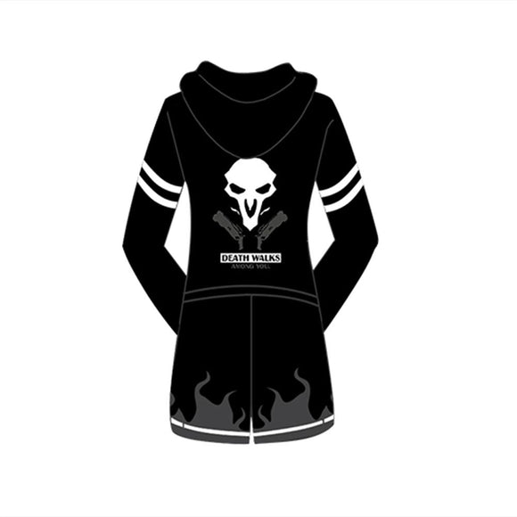 Overwatch Reaper Hoodie Long Jacket Coat Reaper Cosplay Costume