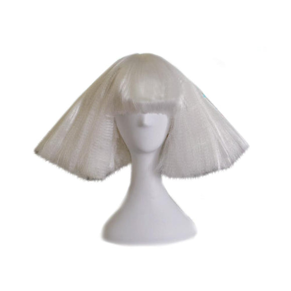 The Famous Star Lady Gaga Cosplay Wig Blunt Fringe White Wig Performance Wig