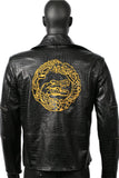 Suicide Squad Killer Croc Jacket Black PU Embroidered Jacket Killer Croc Cosplay Costume