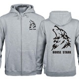 House Stark Hoodie Game of Thrones House Stark Logo Cool Wolf Head Zip Hoodies For Men - Xcoser Costume