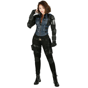 X-Costume Avengers: Infinity War Cosplay Black Widow Full Set Brand New PU Costume