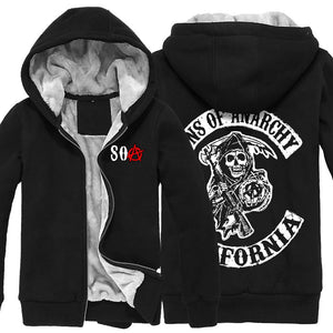 Sons of Anarchy Hoodie Fashion Mens Black Thicken Cotton Winter Zip Up Hoodie Coat Adult