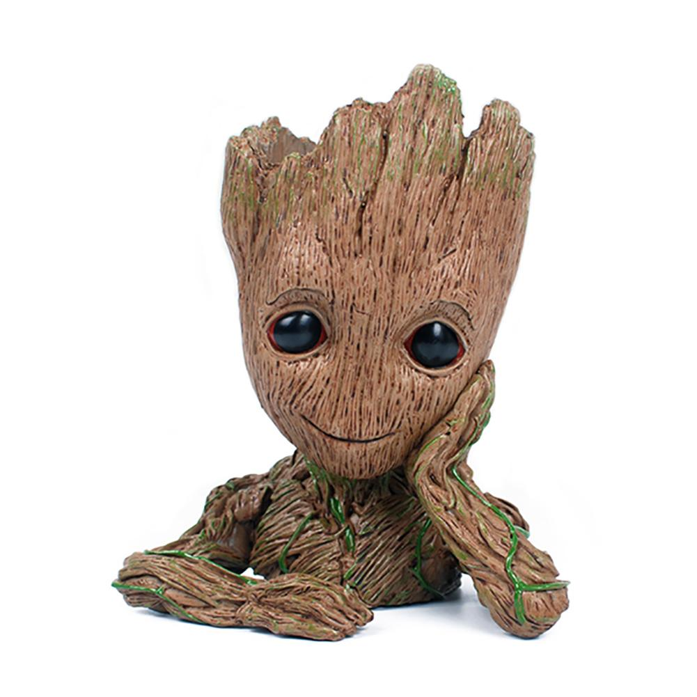 Baby Groot Garden Pot Light Brown Resin Decorations - Xcoser Costume