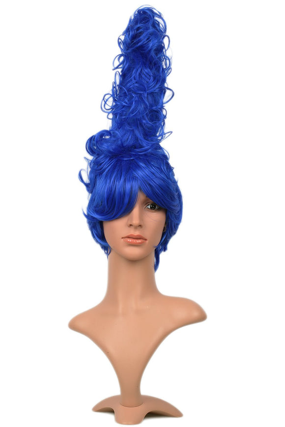 Xcoser Marge Simpson Wig Curly Blue Beehive HairStyle Wig Anime Halloween Cosplay Accessory