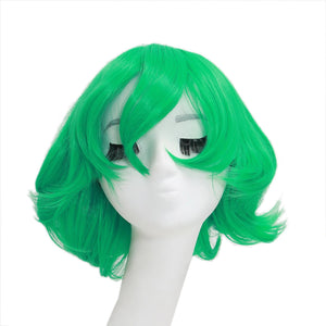 Terrible Tornado Wig One Punch Man Tornado Cosplay Synthetic Short Green Curly Wig 42cm