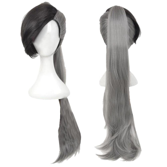 Fairy Tail Future Rogue Cheney Cosplay Long Gray Wig with Clip on Ponytail - Xcoser Costume