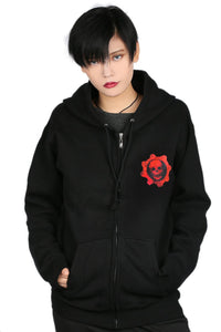 Xcoser Gears of War Hoodie Black Zip-up Hooded Sweatshirt Game Cosplay Costume with Skull Logo