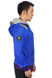 Star Trek Blue Color Hoodie Zipper Style Hoodie Cosplay Costume with Starfleet Emblem