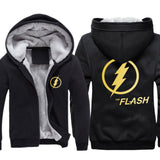 The Flash Hoodie Flash Logo Mens Thicken Winter Fleece Hooded Coat Black