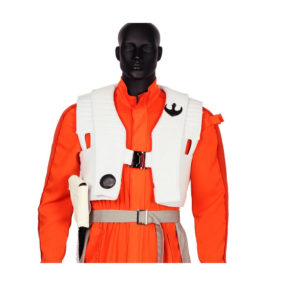 Xcoser White Vest Star Wars VII Poe Dameron Cosplay Costume Halloween Costume