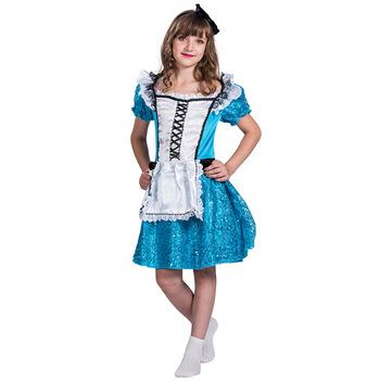 Halloween Cosplay Alice in Wonderland Maid Cosplay Dress Costume for Girls
