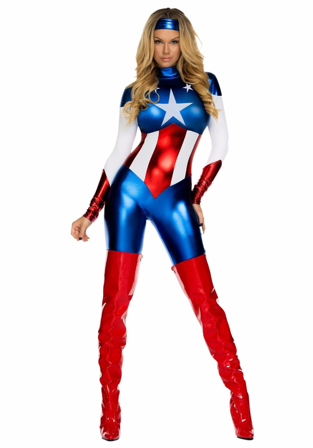 MOONIGHT Sexy Captain America Costume Women Halloween Carnival Cosplay Costume Jumpsuit Movie Avengers Lego Adult Costume