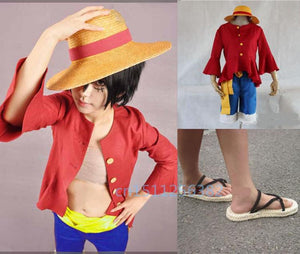 Free shipping Japanese anime One piece Luffy cosplay costume (Hat + shirt + trousers + shoes) Hot sale