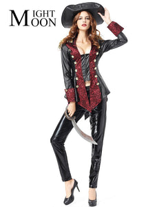 MOONIGHT Halloween Women Adults Pirate Costumes Girls Knight Cavalier Clothing Long Sleeve Black Caribbean Pirate Cosplay