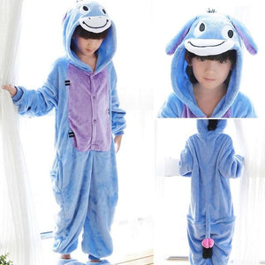 PSEEWE Donkey cosplay children's girls boys sleepwear Winter flannel Animal kids girls pajamas Hooded Cute pyjamas kids