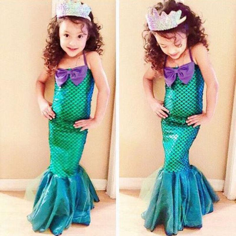 Fashion Summer Girls Princess Dresses Fishtail Kids Ariel Little Mermaid Dress Halloween Party Cosplay Costume FS99 - Xcoser Costume