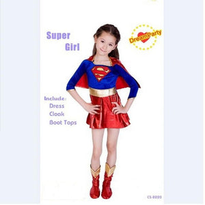 Child Kids Super Girls Supergirl Costume Cosplay Superman Halloween Superhero Costume For Kids Party Dress