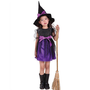 Kids Children Girls Halloween Witch Dress+Hat Children's Day Princess Party Dresses Carnival Cosplay Costume FS99