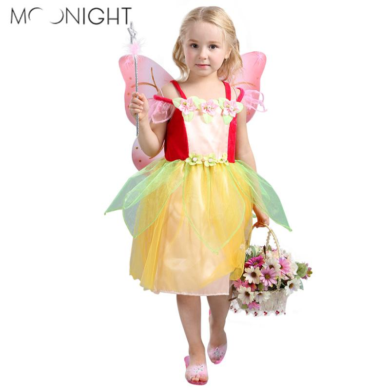 MOONIGHT Girl Princess Dress Halloween Costume Fairy Costume Elf Dress Flower Fairy Cosplay Costumes