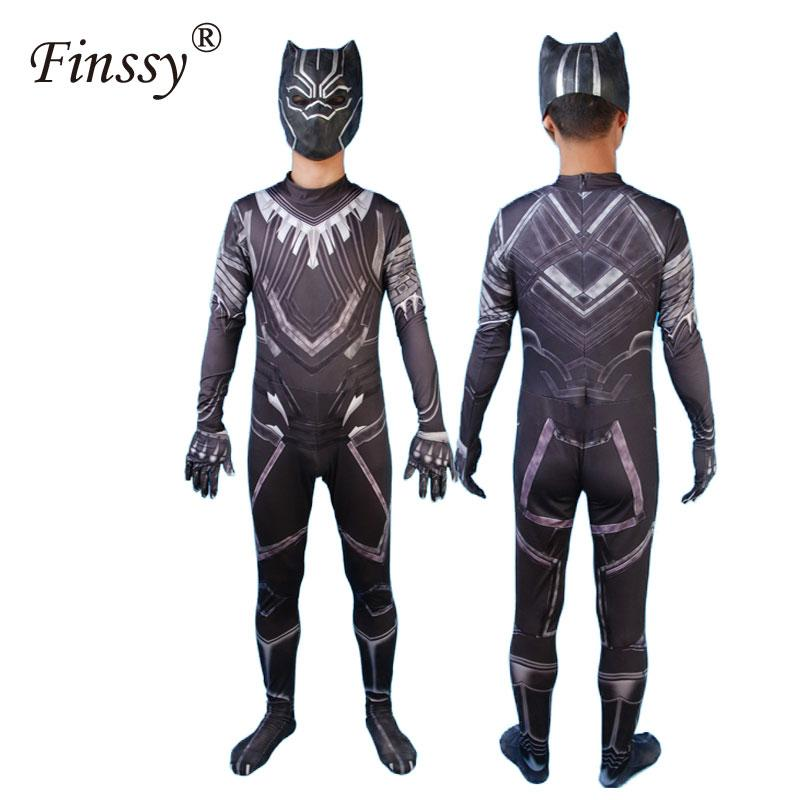 Black Panther Cosplay Costume for Men Women Halloween Costumes for Adult Bodysuit Jumpsuit With Mask