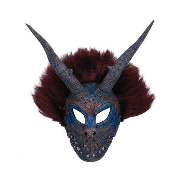 Xcoser Black Panther Movie Cosplay Erik Killmonger Brown & Cyan Mask With Wig - 1