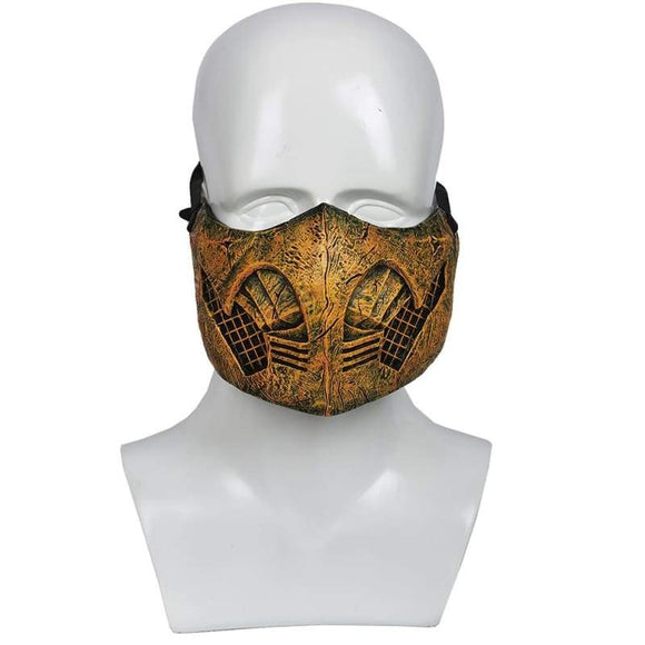 Xcoser Mortal Kombatx Game Cosplay Scorpion/hanzo Hasashi Sandal Wood Mask - 1