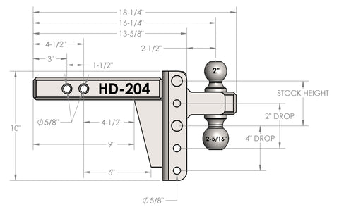 "2.0"" Heavy Duty 4"" Drop/Rise Hitch"