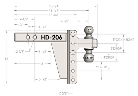 "2.0"" Heavy Duty 6"" Drop/Rise - BulletProof Hitches"