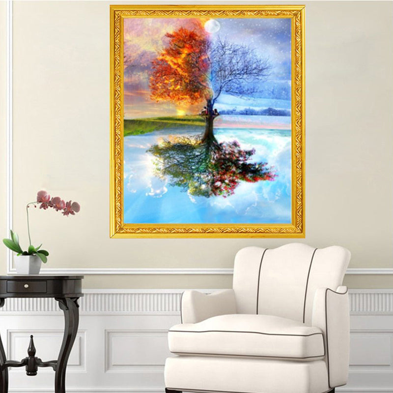 Diy Diamond Painting Full Drill Four Season Tree