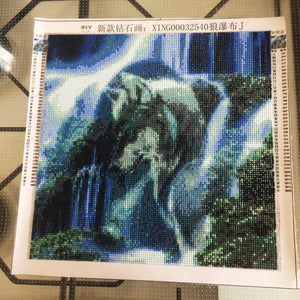 Diy Diamond Painting Wolf Waterfall Scenery