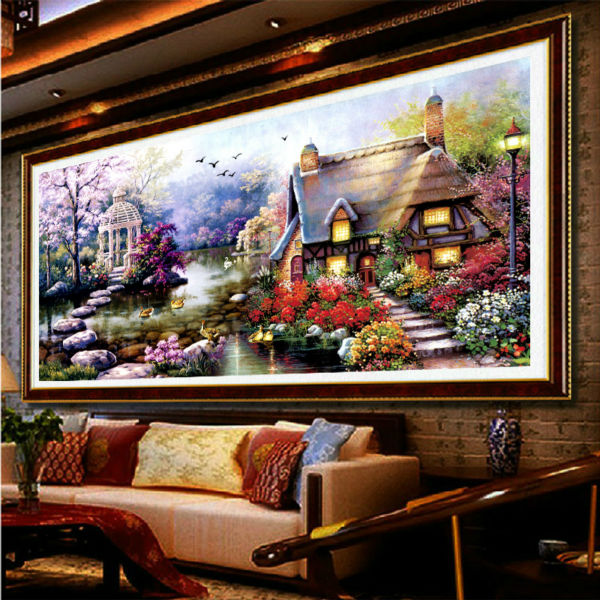 Diy Crystal Diamond Painting Garden Landscape House