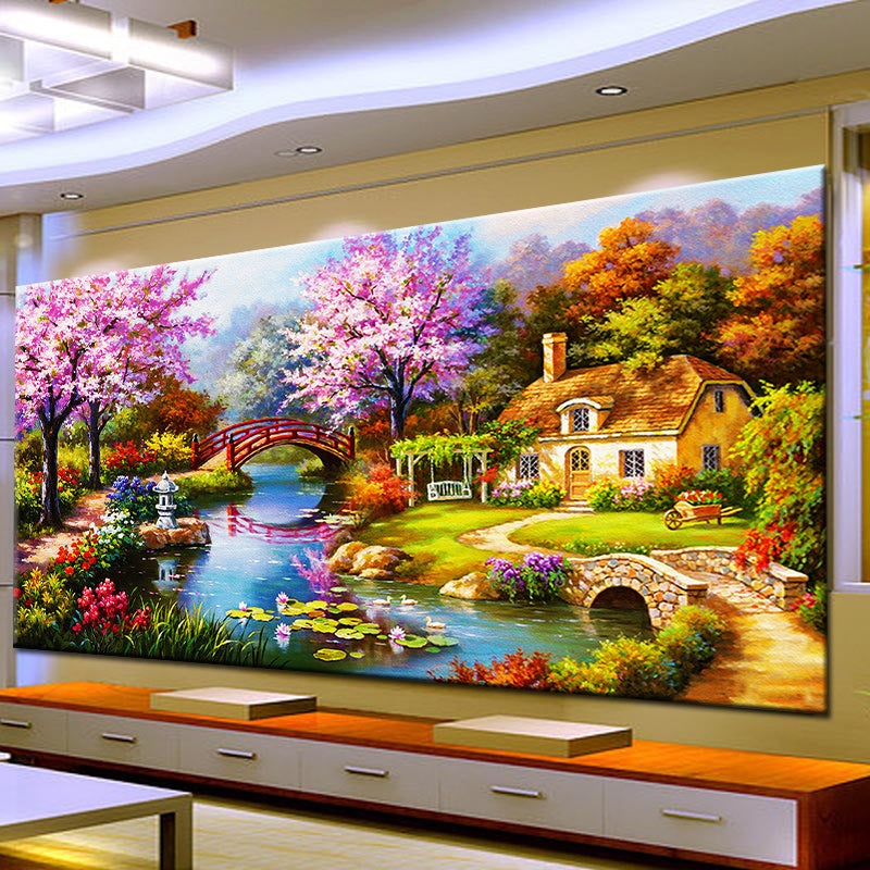 Diy Diamond Painting Spring Garden House