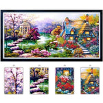 Diy Diamond Painting Garden Cottage Scenery